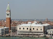 Spectacular piazza san marco in Venice with the high Bell Tower Stock Photos