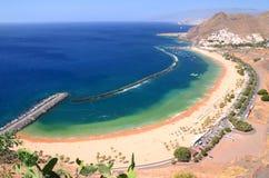 Spectacular picturesque gorgeous view on Teresitas beach on Tenerife island Royalty Free Stock Photos