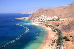 Spectacular picturesque gorgeous view on Teresitas beach on Tenerife island Stock Photography