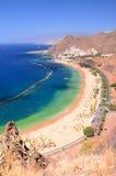 Spectacular picturesque gorgeous view on Teresitas beach on Tenerife island Stock Photos