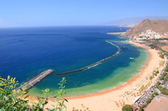 Spectacular picturesque gorgeous view on Teresitas beach on Tenerife island Royalty Free Stock Images