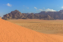 Spectacular Red Sand Dunes at Wadi Rum Royalty Free Stock Photo