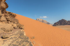 Spectacular Red Sand Dunes at Wadi Rum Royalty Free Stock Images