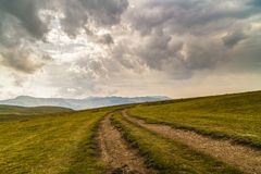 Spectacular road on the mountain in the Carpathian Mountains in Stock Photo
