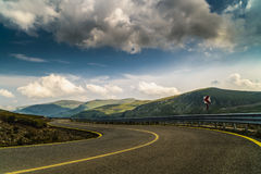 Spectacular road on the mountain in the Carpathian Mountains in Royalty Free Stock Photography