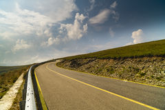 Spectacular road on the mountain in the Carpathian Mountains in Stock Image