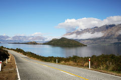 Spectacular Road-trip. Beautiful mountain, road and lake at nz Royalty Free Stock Images