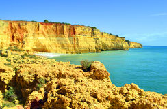 Spectacular rock formations on Benagil Beach on the Algarve coast Royalty Free Stock Photo