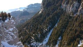 Steep cliffs in Carpathian Mountains, Romania, in winter. Spectacular rock limestone wall covered with fir trees, alpine landscape in Zanoaga Gorge, Bucegi stock video
