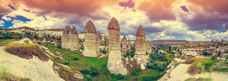 Spectacular rocks formations in Cappadocia. Spectacular rocks formations near Goreme, Cappadocia, Turkey royalty free stock images