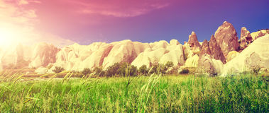 Spectacular rocks formations in Cappadocia Royalty Free Stock Images
