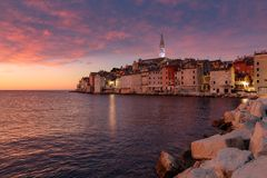 Spectacular romantic old town of Rovinj with magical sunset,Istrian Peninsula,Croatia,Europe. royalty free stock photography