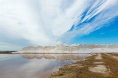 Landscape of the Sanlucar de Barrameda saltworks. stock images