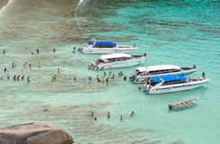 Spectacular scene from Sail rock view point Similan Island. Traveler are waiting for their boat taken from Sail rock view point of Similan Island no.8 Stock Images