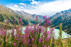 Spectacular scenic Big Almaty Lake ,Tien Shan Mountains in Almaty, Kazakhstan,Asia. At summer stock photo