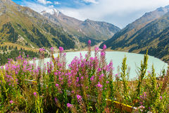 Spectacular scenic Big Almaty Lake ,Tien Shan Mountains in Almaty, Kazakhstan,Asia. At summer royalty free stock images