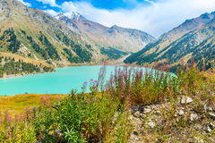 Spectacular scenic Big Almaty Lake ,Tien Shan Mountains in Almaty, Kazakhstan. Asia at summer stock images