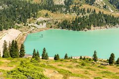 Spectacular scenic Big Almaty Lake ,Tien Shan Mountains in Almaty, Kazakhstan Stock Image