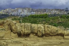 Spectacular scenic view of Agrigento and the secular Greek ruins from the Valley of the temples in Sicily. On a menacing cloudy summer day stock photos
