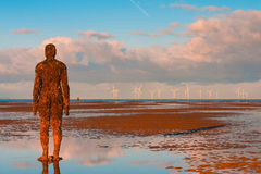 Spectacular sculptures are on Crosby beach. Stock Photo