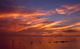 Spectacular Seabrook Sunrise. Sunrise over Galveston Bay in Seabrook, Texas Royalty Free Stock Photo