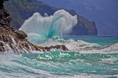 Spectacular Shoreline Wave Break in Hawaii Stock Photo