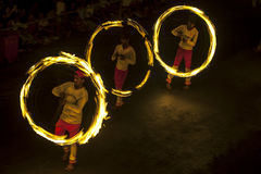 A spectacular site as Fire Ball Dancers perform along a street in Kandy during the Esala Perahera great procession in Sri Lanka. Stock Images