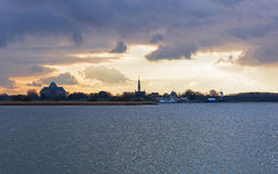 Spectacular sky over Lake Veere stock photo