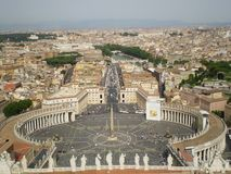 The spectacular St. Peter`s Square, Rome, Italy. View from the dome of San Pedro. royalty free stock photography