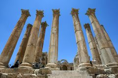 The spectacular stone carved columns of The Temple of Artemis at Jarash in Jordan. Construction began in the 2nd century AD but the temple was never completed Stock Photography