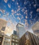 Spectacular street upward view of Manhattan Skyscrapers - New Yo Royalty Free Stock Image