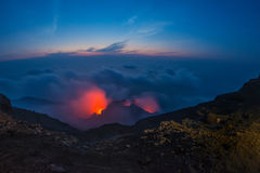 Spectacular Stromboli volcano eruption during the night Royalty Free Stock Photography