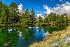 Spectacular summer alpine landscape with Grindjisee lake,Zermatt,Switzerland,Europe Stock Images