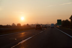 Spectacular sunrise over highway - dramatic light, enhanced colors Royalty Free Stock Photography