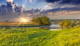 Spectacular sunrise over river Royalty Free Stock Photo