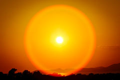 Spectacular sunset. With a huge sun Royalty Free Stock Image