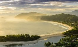 Spectacular sunset on the Barra do Una beach on the coast of the Stock Images