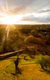 Spectacular sunset in Carcassonne. View from medieval village on Stock Photo
