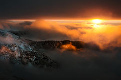 Spectacular sunset in Carpathians Mountains. 