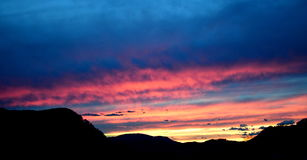 Spectacular sunset. Sunset in Europe, Spectacular red, yellow, blue, purple colored clouds royalty free stock photos