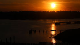 Spectacular sunset in a harbour stock footage