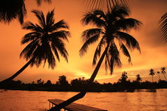 Spectacular sunset from Laos Don khong island stock image