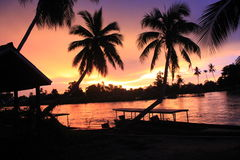 Spectacular sunset from Laos Don khong island Stock Photography