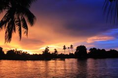 Spectacular sunset from Laos Royalty Free Stock Photos