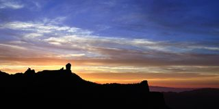 Panoramic sunset from natural park Roque Nublo, Gran canaria island. Sunset on Roque Nublo, Gran canaria, Canary islands Stock Image