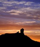Silhouette of Roque Nublo on colorful sky at nightfall, Gran canaria island. Sunset on Roque Nublo, Gran canaria, Canary islands Stock Images