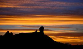 Roque Nublo on bright sky at nightfall, Gran canaria island. Sunset on Roque Nublo, Gran canaria, Canary islands Stock Images