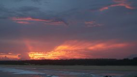 Spectacular sunset over Bongil beach in Northern NSW, Australia stock video footage
