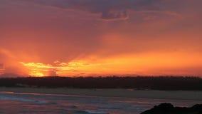 Spectacular sunset over Bongil beach in Northern NSW, Australia stock video