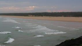 Spectacular sunset over Bongil beach in Northern NSW, Australia stock footage